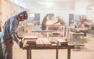 Carpenter working in a woodshop