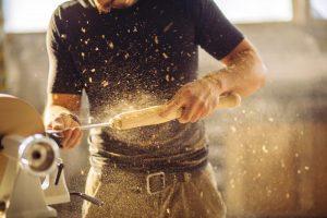 Carpenter using tools